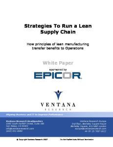 Strategies To Run a Lean Supply Chain