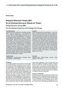 Strategisch-Behaviorale Therapie (SBT): Von der Bindungserfahrung zur Strategie der Therapie