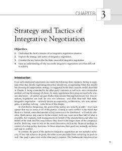 Strategy and Tactics of Integrative Negotiation