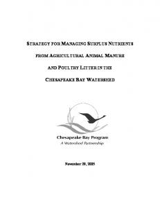 STRATEGY FOR MANAGING SURPLUS NUTRIENTS CHESAPEAKE BAY WATERSHED FROM AGRICULTURAL ANIMAL MANURE AND POULTRY LITTER IN THE