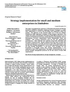 Strategy implementation for small and medium enterprises in Zimbabwe