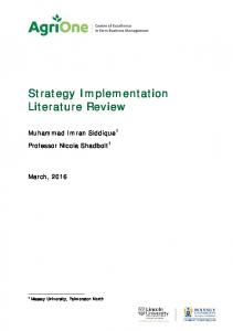 Strategy Implementation Literature Review