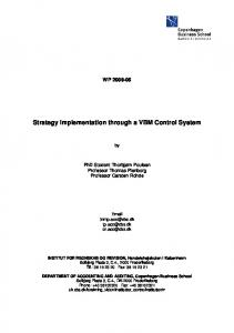 Strategy Implementation through a VBM Control System
