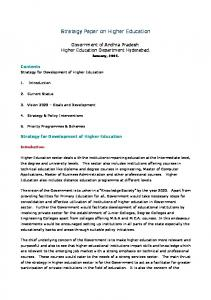 Strategy Paper on Higher Education