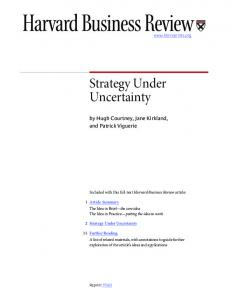 Strategy Under Uncertainty