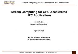 Stream Computing for GPU-Accelerated HPC Applications