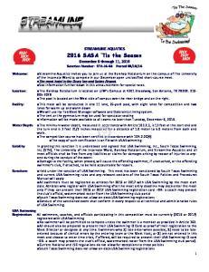 STREAMLINE AQUATICS 2016 SASA Tis the Season