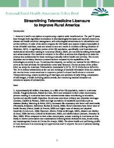 Streamlining Telemedicine Licensure to Improve Rural America