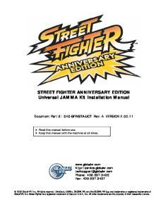 STREET FIGHTER ANNIVERSARY EDITION Universal JAMMA Kit Installation Manual