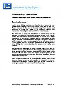 Street Lighting Invest to Save