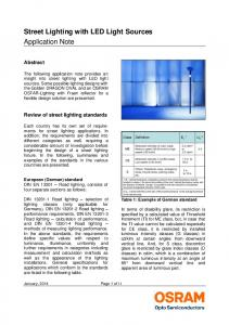 Street Lighting with LED Light Sources Application Note