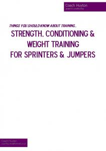 STRENGTH, CONDITIONING & WEIGHT TRAINING FOR sprinters & jumpers