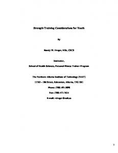 Strength Training Considerations for Youth