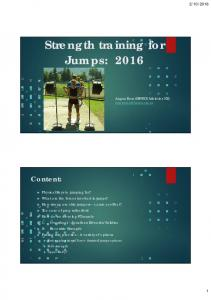 Strength training for Jumps: 2016