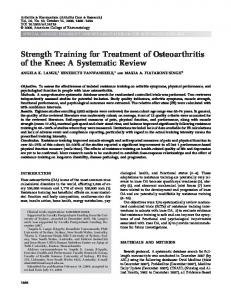 Strength Training for Treatment of Osteoarthritis of the Knee: A Systematic Review