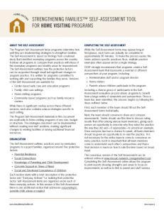 STRENGTHENING FAMILIES SELF-ASSESSMENT TOOL FOR HOME VISITING PROGRAMS