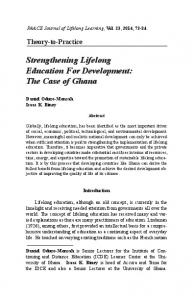 Strengthening Lifelong Education For Development: The Case of Ghana