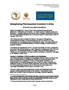 Strengthening Pharmaceutical Innovation in Africa