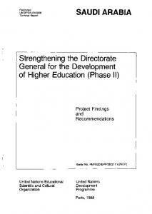 Strengthening the Directorate General for the Development of Higher Education (Phase II)