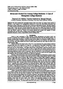 Stress and Alcohol Use Among College Students: A Case of Molepolole College Students
