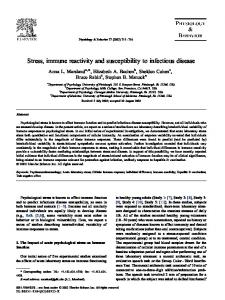 Stress, immune reactivity and susceptibility to infectious disease