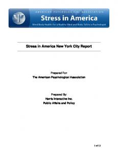 Stress in America New York City Report