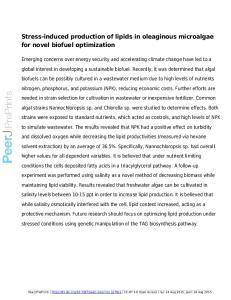 Stress-induced production of lipids in oleaginous microalgae for novel biofuel optimization