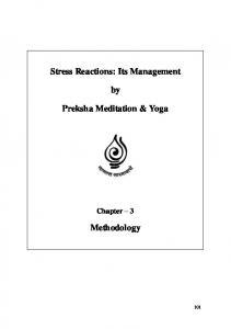 Stress Reactions: Its Management. Preksha Meditation & Yoga