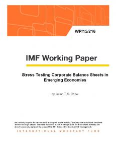 Stress Testing Corporate Balance Sheets in Emerging Economies
