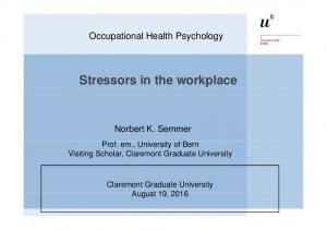 Stressors in the workplace
