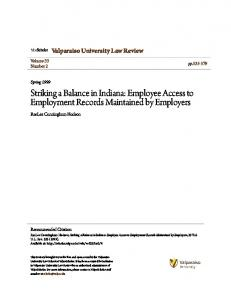 Striking a Balance in Indiana: Employee Access to Employment Records Maintained by Employers