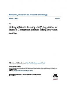 Striking a Balance: Revising USDA Regulations to Promote Competition Without Stifling Innovation