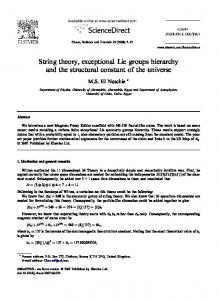 String theory, exceptional Lie groups hierarchy and the structural constant of the universe