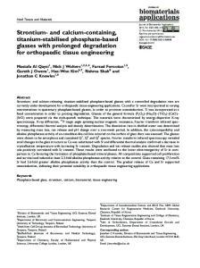 Strontium- and calcium-containing, titanium-stabilised phosphate-based glasses with prolonged degradation for orthopaedic tissue engineering