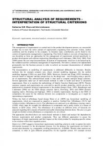 STRUCTURAL ANALYSIS OF REQUIREMENTS INTERPRETATION OF STRUCTURAL CRITERIONS
