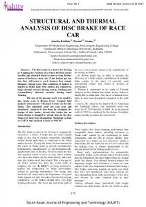STRUCTURAL AND THERMAL ANALYSIS OF DISC BRAKE OF RACE CAR