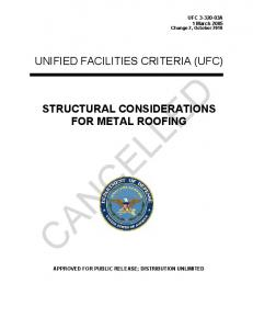 STRUCTURAL CONSIDERATIONS FOR METAL ROOFING