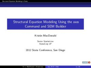 Structural Equation Modeling Using the sem Command and SEM Builder