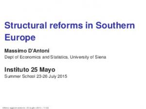 Structural reforms in Southern Europe