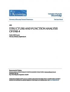 STRUCTURE AND FUNCTION ANALYSIS OF PAR-4