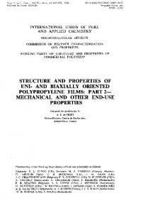 STRUCTURE AND PROPERTIES OF