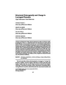 Structured Heterogeneity and Change in Laryngeal Phonetics