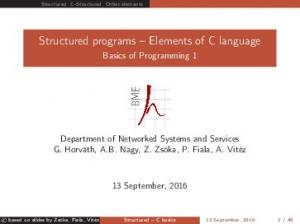 Structured programs Elements of C language