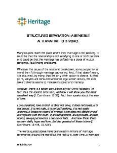 STRUCTURED SEPARATION: A SENSIBLE ALTERNATIVE TO DIVORCE