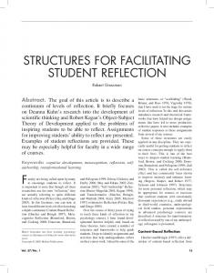STRUCTURES FOR FACILITATING STUDENT REFLECTION