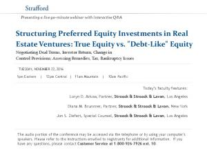 Structuring Preferred Equity Investments in Real Estate Ventures: True Equity vs.