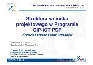 Struktura wniosku projektowego w Programie