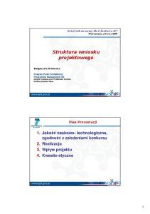 Struktura wniosku projektowego