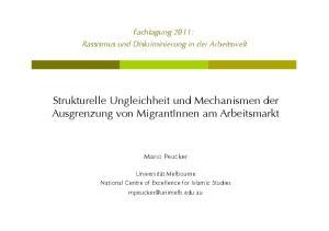 Strukturelle Ungleichheit und Mechanismen der Ausgrenzung von MigrantInnen am Arbeitsmarkt