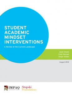 STUDENT ACADEMIC MINDSET INTERVENTIONS